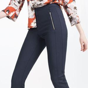 Zara Navy Blue Mid Rise Skinny Trousers